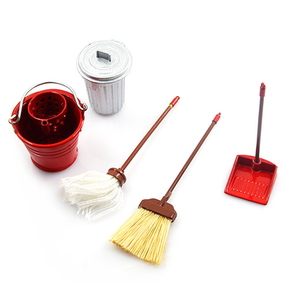 (#YA-0366) 1/10 RC Crawler Garage Accessory Combo w/ Broom, Dustpan, Mop, Water Bucket, Metal Trash Bin