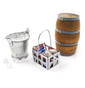 (#YA-0368) 1/10 RC Crawler Camping Accessory Combo Ice Bucket & Ice,Coke Bucket With Coke,Wine Cask